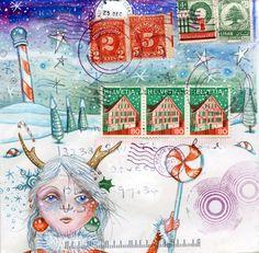 Santa's Helper postcard by eyefun on Etsy, $2.00