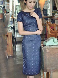 Navy Blue Midi Linen Qipao / Cheongsam / Chinese Dress