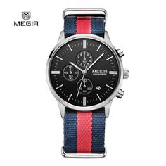 10 Pieces/Lot Whole Top Luxury brand MEGIR Watches Men Chronograph Canvas band Quartz-watch thin Dial Clock Man 2011 Relogio