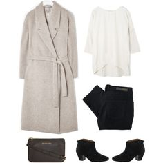 A fashion look from October 2013 featuring short sleeve tops, wool coat y high waisted skinny jeans. Browse and shop related looks.