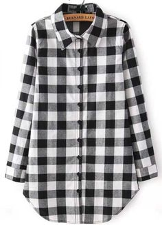 Black Buttons Long Sleeve Plaid Blouse - abaday.com