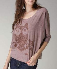 Take a look at the CottyOn Mocha Owl Three-Quarter Sleeve Tee on #zulily today!