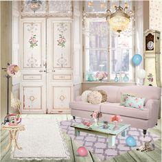 """Shabby Chic Living Room"" by suzieladybug ❤ liked on Polyvore"