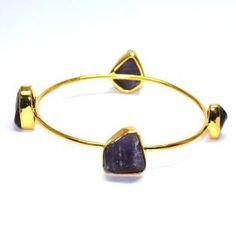 Rough Amethyst Gemstone Brass Bangle