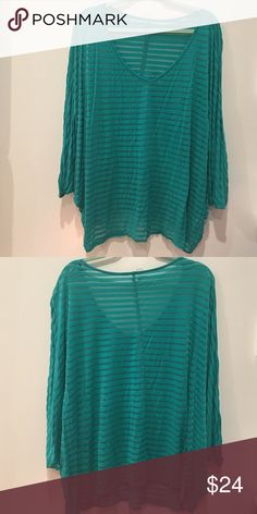 ⚡️ Make an offer⚡️Sexy Plus size Teal striped top Sexy Plus size Teal striped top see through Tops Blouses