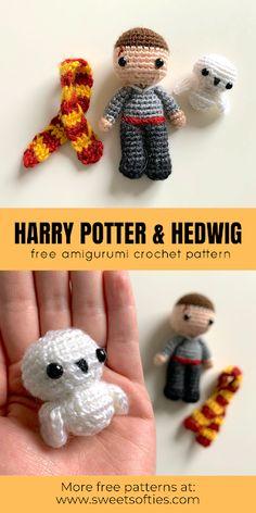 Harry Potter Free, Harry Potter Crochet, Amigurumi Doll, Amigurumi Patterns, Crochet Patterns, Crochet Ideas, Crochet Crafts, Crochet Dolls, Crochet For Kids