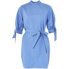 Topshop Cotton Poplin High Neck Dress (910 EGP) ❤ liked on Polyvore featuring dresses, topshop, blue, blue dress, topshop dresses, high neck dress, cotton poplin dress and sleeved dresses