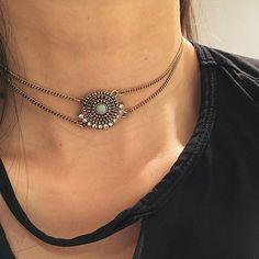Antique jeweled Chain choker www.beuniki.com