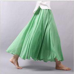 Cotton Linen Long Skirt Elastic Waist Bohemian Summer Skirts Faldas Mujer Moda Solid Pleated Maxi Skirts Size M Color Beige Linen Skirt, Cotton Skirt, Linen Dresses, Linen Trousers, Denim Skirt, Mori Girl, A Line Skirts, Maxi Skirts, Pleated Maxi