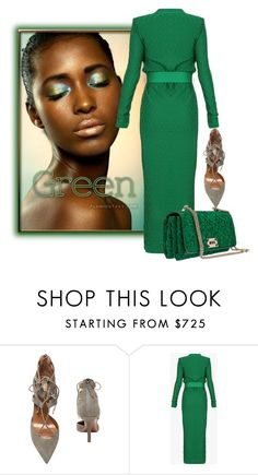 """""""Green"""" by the-house-of-kasin ❤ liked on Polyvore featuring Aquazzura, Balmain and Valentino"""