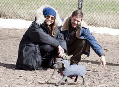 "Tom Hardy and Noomi Rapace played with their cute costar on the set of ""Animal Rescue"" in NYC"