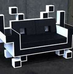 Do you have space for the coolest couch ever? The Space Invaders Couch was designed by Igor Chak. He says: The Space Invaders Couch is basically a s Retro Arcade, Gaming Furniture, Cool Furniture, Gaming Chair, Gaming Lounge, Retro Furniture, Furniture Ideas, Diy Zimmer, Space Invaders
