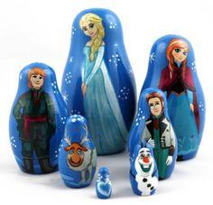 Frozen Elsa and Anna Matryoshka Russian Handmade Wooden Nesting Stacking Dolls Cartoons Anime Child Movie Art Crafts Gifts 7pc