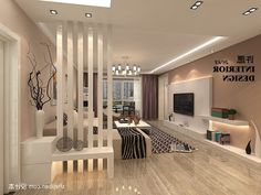 Stunning Modern Partition Design Ideas For Living Room 35 Room Partition Wall, Living Room Partition Design, Living Room Divider, Room Partition Designs, Ceiling Design Living Room, Interior Design Living Room, Kitchen Interior, Studio Apartment Decorating, Small Room Design