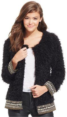 Jessica Simpson Kassidy Embellished Faux-Shearling Jacket