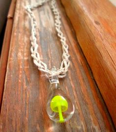Hemp Necklace Glass Mushroom Necklace Glass Pendant by JackZenHemp, $12.00 #hempnecklace #hemp #yellow #mushroom #shroom #etsy #handmade #shop