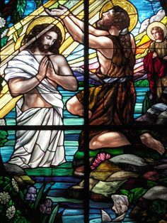 Baptism of Jesus Christ by John the Baptist, God looked down and was well pleased.