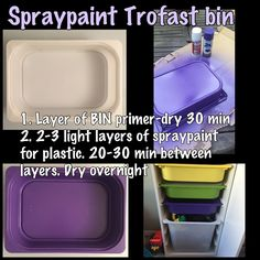 How to spray paint Trofast bins for custom colours Ikea Trofast Bins, Ikea Bins, Trofast Hack, Office Playroom, Playroom Design, Toy Rooms, Kids Rooms, Kids Room Organization, Ikea Hacks