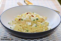 Espaguetis con requesón y Grana Padano