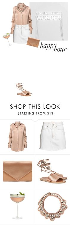 """You make me wonder"" by natyleygam ❤ liked on Polyvore featuring RM by Roland Mouret, Micoli, Ancient Greek Sandals, Crate and Barrel, Mignonne Gavigan, white, denim, neutrals, nude and happyhour"