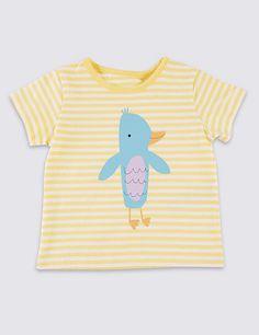 Pure Cotton Striped & Bird Print T-Shirt   M&S