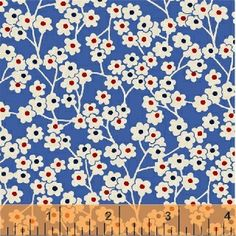 Little White Floral on Blue Floursack Feedsack 1930s 40s Repro Windham Fabric