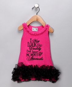 Take a look at this Pink 'Attitude' Ruffle Dress - Infant, Toddler & Girls by Born 4 Couture on #zulily today!