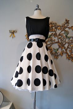 "1960's ""Heiser"" Black and White Polka Dot Pique Dress"
