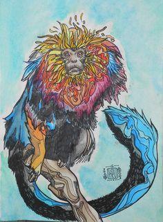 Psychedelic Monkey  #Watercolors #Ink