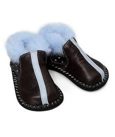 Brown & Blue Faux Fur Leather Shoe