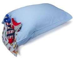 PILLOW POCKET PAL PILLOWCASE Light Blue with Trucks