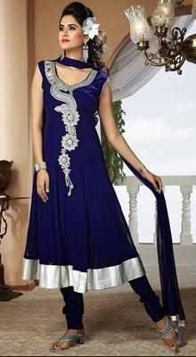 Charming Deep Royal Blue Chudidar Kameez