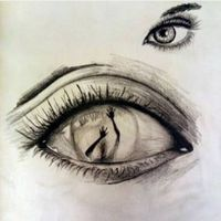 This is an amazing sketch of how this woman feel trapped from the inside