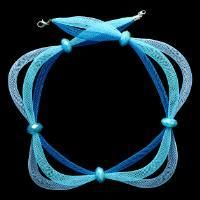 How to Make a Easy Ocean Blue Necklace with Net Thread Cord and Beads