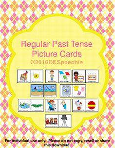 Teaching regular past tense ed can be difficult but my Regular Pat Tense Picture cards make it fun.   I have included cue cards to make it easier to recall the 3 sounds of ed.   The following 30 verbs are included: cook, lick, raise, mix, paint, play, roast, stir, bake, graduate, carry, squeeze, pick, jump, hop, deliver, sharpen, clean, color, plant, recycle, balance, juggle, watch, rest, look, travel, sail, type and wash.These cards are for drill work, but can be used to obtain present…