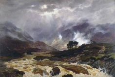 Graham, Peter, (1836-1921), A Spate in the Highlands, 1866, Oil