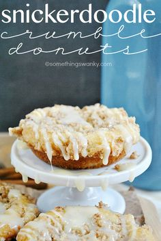 Snickerdoodle Crumble Donuts [cinnamon sugar, crumble, and white chocolate ganache come together to make this a truly decadent donut. And baked, not fried!] via Something Swanky