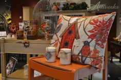 Barcelona Orange Chalk Paint® is the perfect fall accent color! www.ArtworksCdA.com