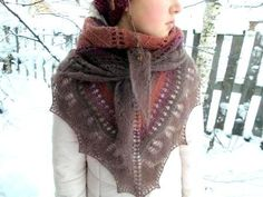 free shipping, Triangular scarf, handmade scarf, warm scarf, brown shawl,shawl bride, rustic wedding, lace shawl,knit shawl, brooch  gift by LidiaAndVary on Etsy