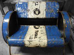 oil barrel furniture - Google zoeken                                                                                                                                                      More Car Furniture, Barrel Furniture, Balcony Furniture, Automotive Furniture, Recycled Furniture, Metal Furniture, Oil Barrel, Metal Barrel, 55 Gallon Drum