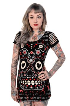 CANDY SKULL TOP by Banned Apparel.   - #infectiousthreads #goth #gothic…