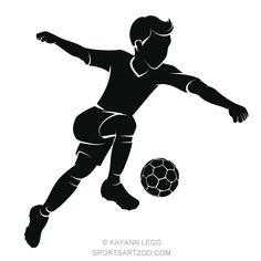 Soccer Boy Kicking Silhouette by SportsArtZoo Free Vector Clipart, Soccer Boys, Football Soccer, Sports Day, Mothers Day Quotes, Stencils, Kicks, Sketches, Clip Art