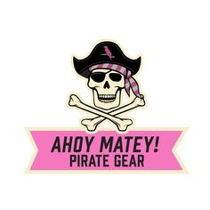 Ahoy Matey Pirate Gear Emblem designed for the Grey/Pink colorway of wooden pirate sword and shield from MIGHTY FUN!