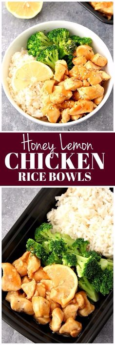 Honey Lemon Chicken Rice Bowls Recipe - quick and easy dinner idea that's better than takeout! www.crunchycreamysweet.com