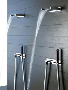 Private Wellness collection by Gessi _shower faucet Bad Inspiration, Decoration Inspiration, Bathroom Inspiration, Beautiful Bathrooms, Modern Bathroom, Master Bathroom, Waterfall Shower, Waterfall Faucet, Plumbing Fixtures