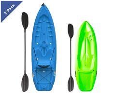 Save with a Lifetime 2-pack kayak combo. 1 adult kayak and 1 youth kayak.  $469.99