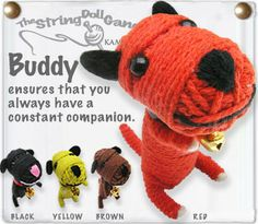 Kamibashi Buddy the Puppy Dog The Original String Doll Gang Diy Arts And Crafts, Hobbies And Crafts, Diy Craft Projects, Crafts For Kids, Project Ideas, Craft Ideas, Diy Yarn Dolls, Diy Doll, Halloween Doll