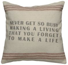 Rustic Never Get Busy Accent Throw Pillow   POSH365INC