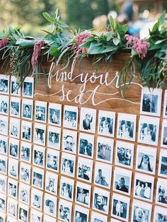 photo seating chart   Photography: Ryan Ray Read More on SMP: http://www.stylemepretty.com/2016/03/16/whimsical-summer-wedding-at-lake-tahoe-2/