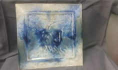 Bill Campbell Pottery Square Wall Plate Crystalline Flambeaux Glaze